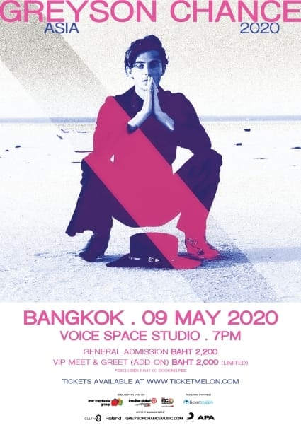 Greyson Chance Asia 2020 in Bangkok